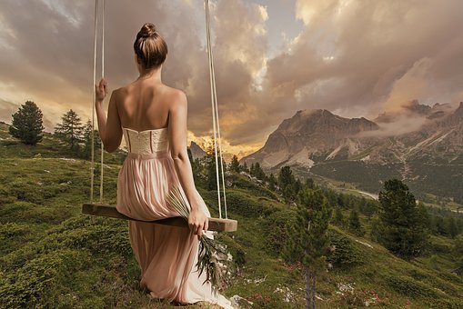 Woman, Girl, Female, Young, Swing, Mountains, Nature