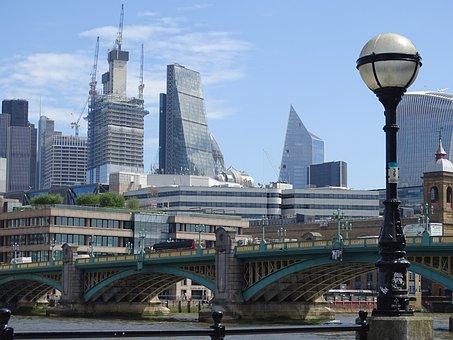 London, England, United Kingdom, Skyline, Bridge, Air