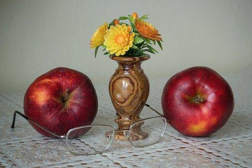 Still Life, Apples, Fruit, Glasses