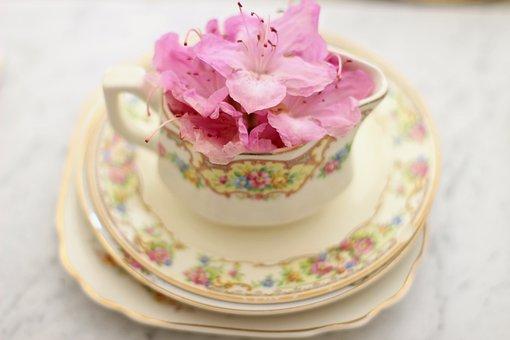 Tea Cup, Coffee Cup, Creamer, Vintage Flowers, Beverage