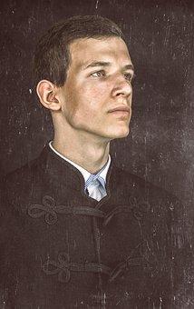 Men's, Portrait, Vintage, Boy, Tough Look