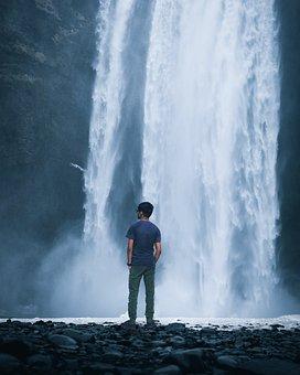 Waterfall, Men, Boy, Standing, Water, Panoramic