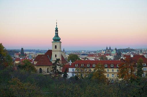 Sunset, Prague, Czechia, Church, City, Cityscape, Dusk