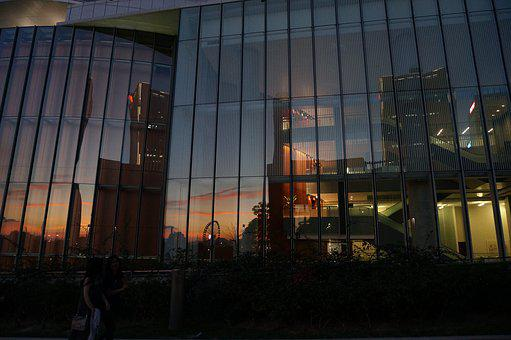 Architecture, City, Evening Sky, Evening, Sunset, Glass