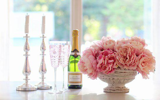 Champagne, Champagne Glasses, Peonies, Cocktail, Cheers