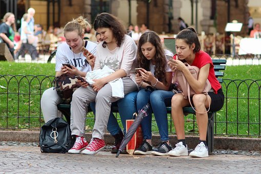 Girls, Cell Phones, Sitting, Distracted, Cell Phone