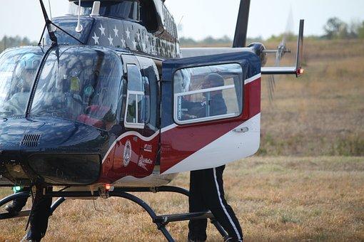 Helicopter, Landing, Door Open