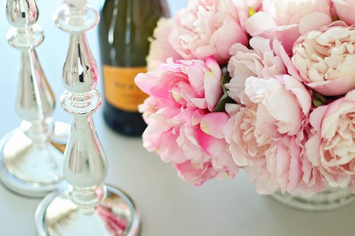 Peonies, Champagne, Flower, Glass, Bouquet, Romantic