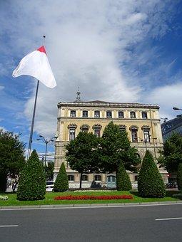 Flag, Building, Architecture, Gardens, Bilbao