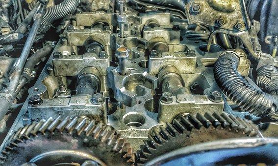 Engine, Camshafts, Gears, Motor, Automobile, Machine