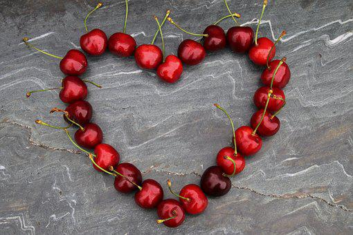 Cherries, Heart, Red, Symbol, For You, Red Fruits