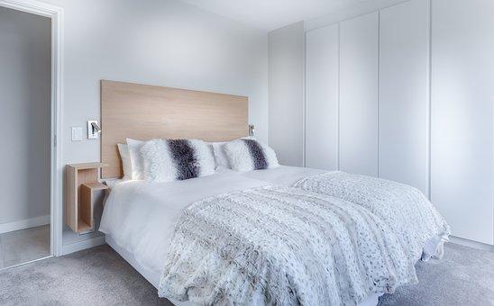 Modern Minimalist Bedroom, Bed, Bedroom, Hotel, Room