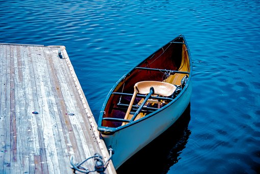 Rowboat, Water, Lake, Blue, Tranquil, Wooden, Boat