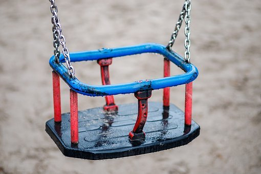 Swing, Child, Playground, Rain, Leave
