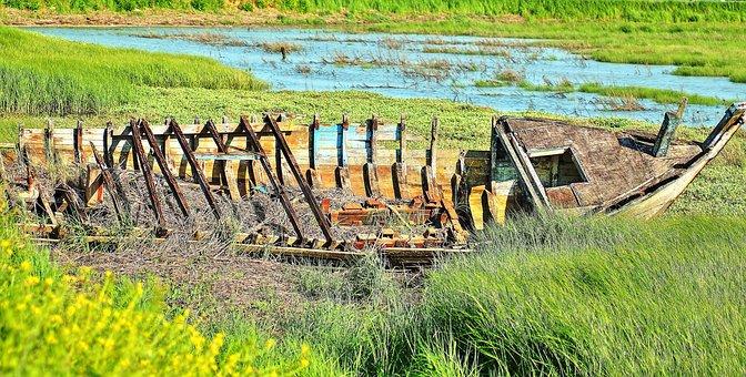 Failed Boat, Wreck, Shore, Ocean, Hull