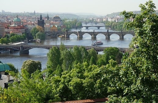 Bridge, River, Prague, Czechia, City, Cityscape, Travel