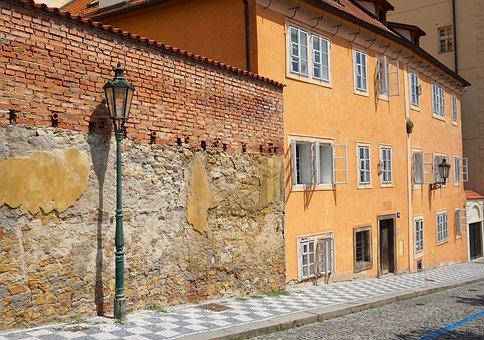 Street, Prague, Czechia, Lamp, House, Building, Old