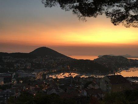 Sunset, Croatia, Dubrovnik, Sea, Travel, Summer