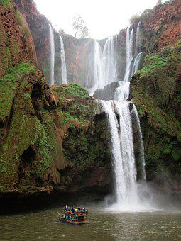 Waterfall, Water, Shutter Speed, Lac, Boat, Morocco
