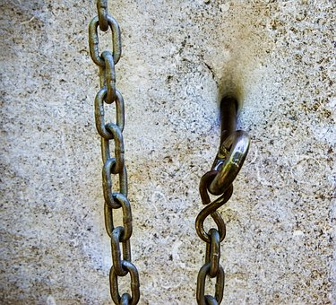 Chain, Stone, Hook, Steel, Iron, Close, Steel Chain