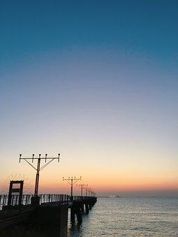 Sea, Sky, Water, Sunset, Beach, Dawn, Ocean, Airport