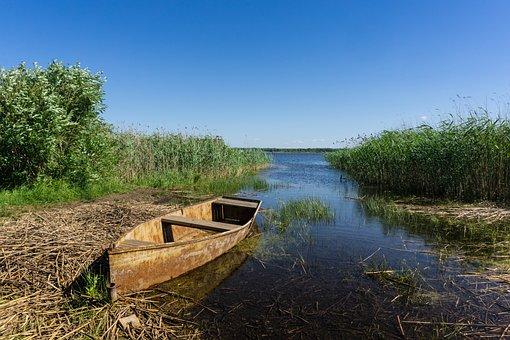 Boat, Lake, Rusty, Vacation, Tranquility, Silence