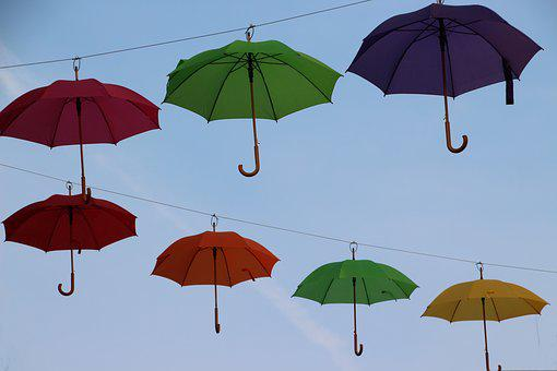 Colorful, Umbrellas, Blue Sky, Garland, Creativity