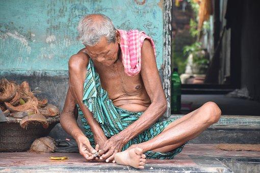 Old Man, Village, Odisha, Orissa, India, Nail, Cutting