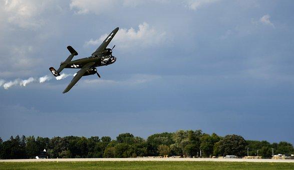 B-25, Airplane, Plane, Bomber, Aircraft, Propeller