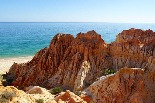 Summer, Holiday, Cliff, Algarve, Portugal, Landscape