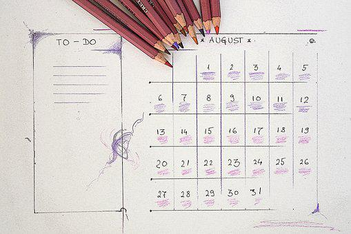 August, Calendar, Planner, Plan, Vacation