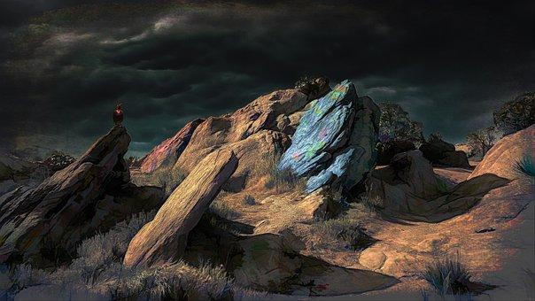 Landscape, Rocky, Blue, Bird, Sky, Sunshine