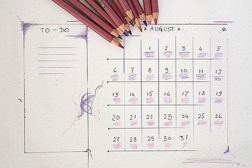 August, Calendar, Planner, Plan, Vacation