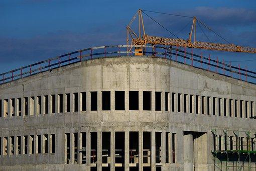 Home, Shell, Cement, Site, Crane, Architecture, Modern