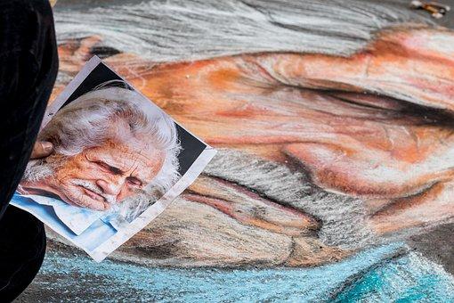 Art, Chalk, Design, Old, Man, Face, Scene, Mural, Color
