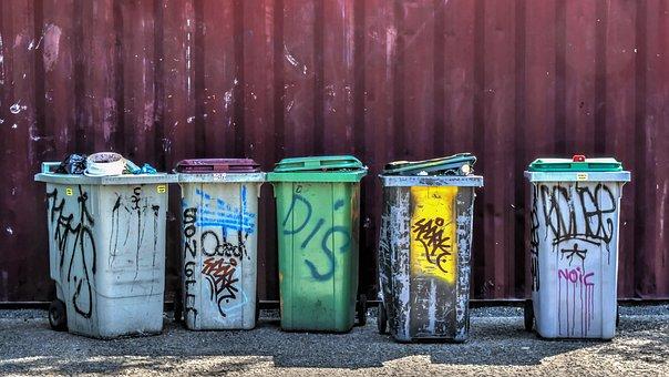 Trash, Junk, Container, Graffiti, Plastic, Waste