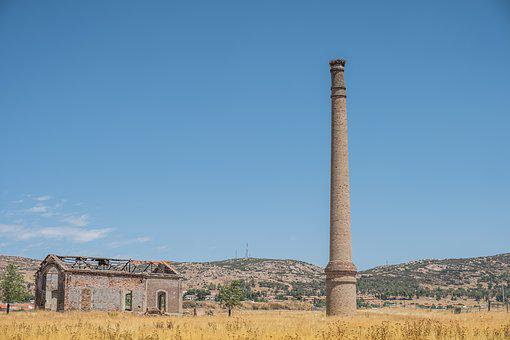 Fireplace, Factory, Ruin, Field, Dry Land, Dry