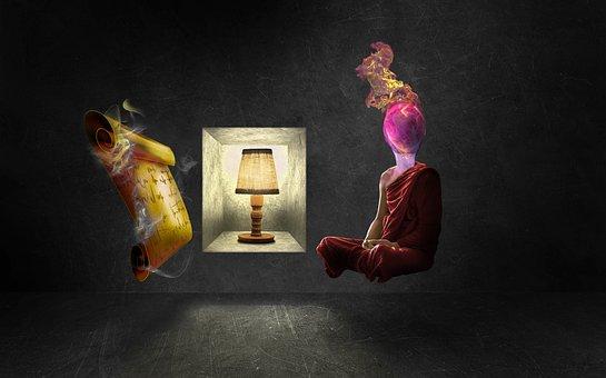 Meditation, Fire Monk, Lamp, Gold, Storage, Metaphysics