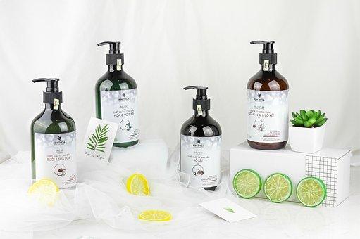 Cosmetics, Bottle, The Bottle, Flatlay, Layout, Shampoo