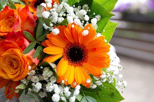 Bouquet, Orange, Close, Rose, Wedding, Marry, Flowers