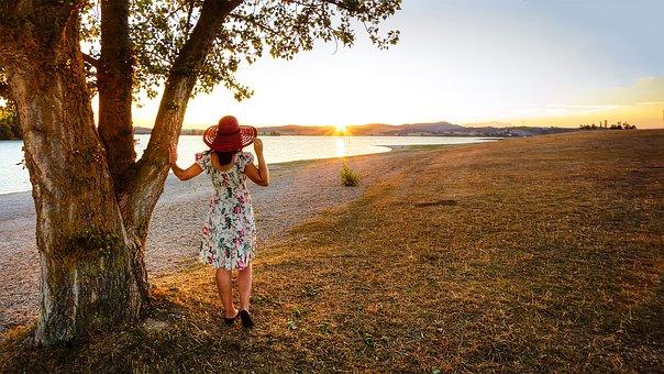 Sunset, Landscape, Field, Hat, Girl, Nature, Sun, Marsh