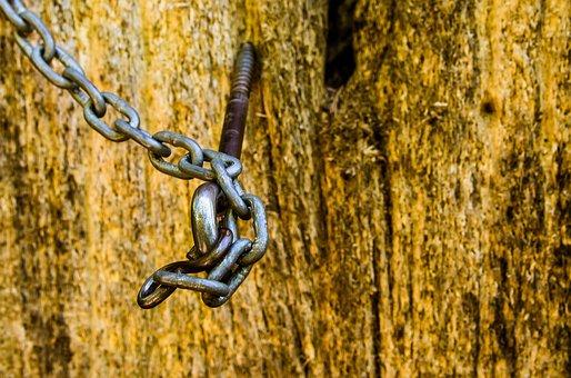 Chain, Wood, Hook, Steel, Iron, Close, Steel Chain