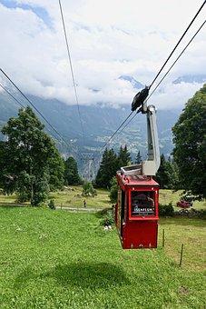 Cable Car, Alps, Swiss, Alpine, Mountains, Landscape
