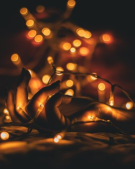 Hand, Lights, Bokeh, Dark, String Lights, Yellow