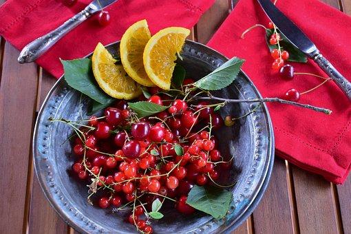 Sour Cherries, Cherries, Currants, Oranges, Fruit, Red