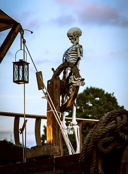 Skeleton, Starboard, Ship, Lamp, Figure, Captain, Dew
