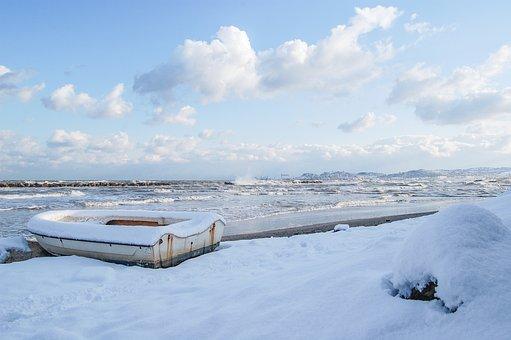 Snow, Ancon, Railroad, Beach, Sea, Winter, Ship