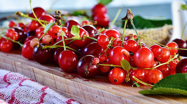 Sour Cherries, Cherries, Currants, Fruit, Red, Fruits