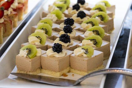 Dessert, Cake, Chunks, Sweet, Fruits, Berries, Fruit