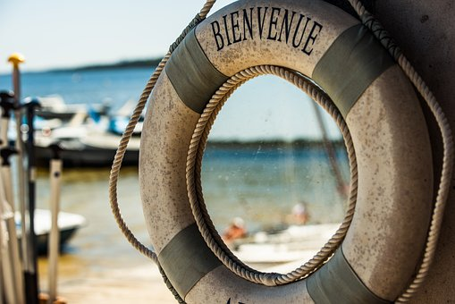 Welcome, Lifebelt, Beach, South Of France, Sea, Water